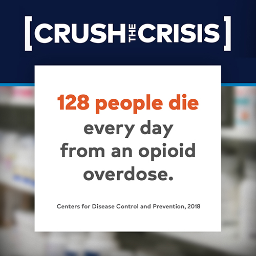 Crush the Crisis. 128 people die every day from an opioid overdose. Centers for Disease Control and Prevention, 2018